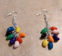 Sweet Jellybean Charm Earrings Candy Clay Kids Easter Charm Silver Wire - $6.00