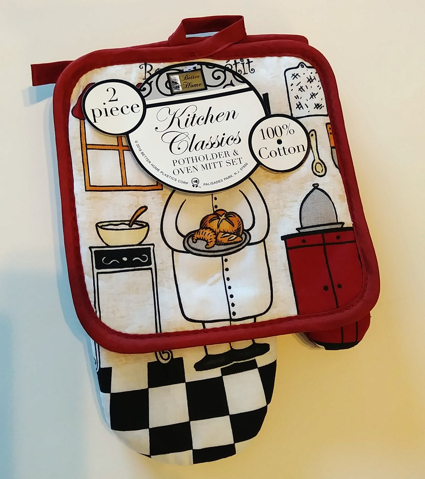 FAT CHEF OVEN MITT SET 2pc Potholder Kitchen Decor Red Cook Bon Appetit NEW