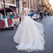 New Elegant Lace on Nude Illusion A-line Fashion Wedding Dress image 4
