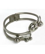 Vintage Art Deco Cuff Clamper Silver tone Metal Bracelet  - $16.44