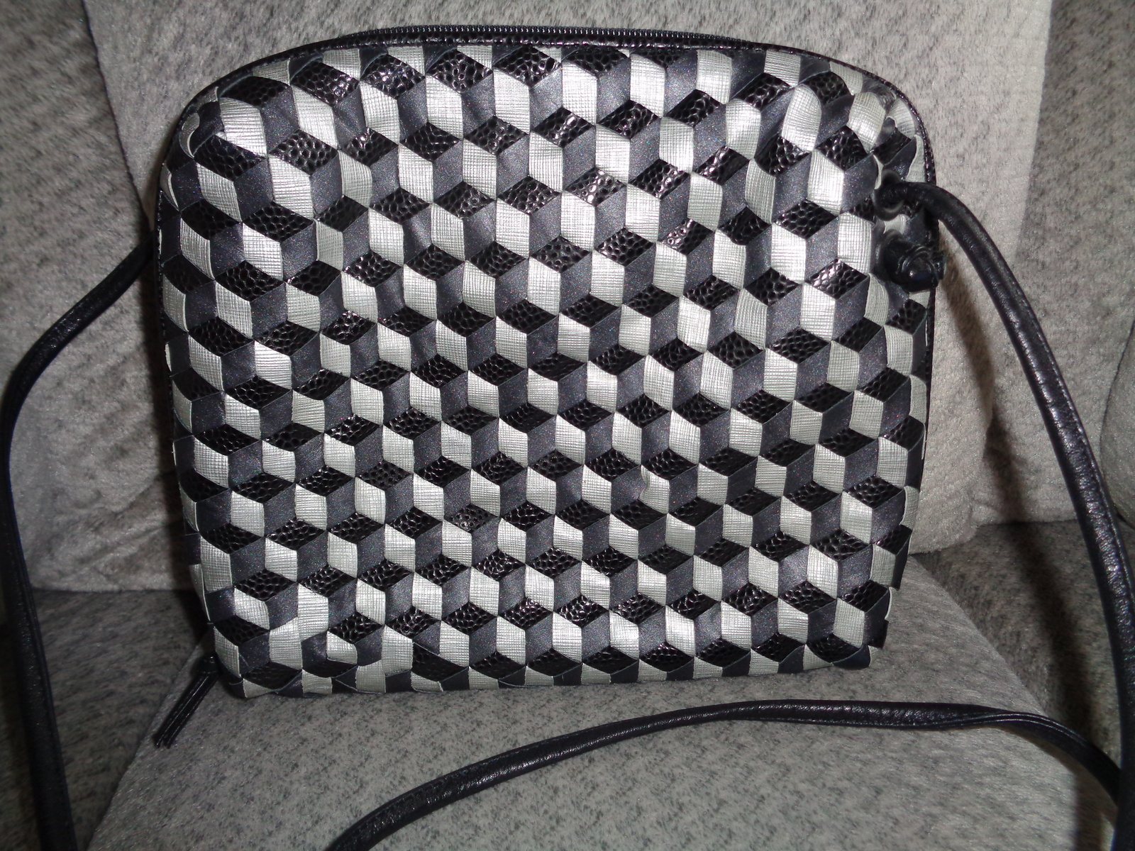 Primary image for Sharif Leather Crossbody Bag Black & Gray Squares Woven Shoulder Bag Tote