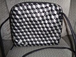 Sharif Leather Crossbody Bag Black & Gray Squares Woven Shoulder Bag Tote - €42,13 EUR