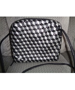 Sharif Leather Crossbody Bag Black & Gray Squares Woven Shoulder Bag Tote - £37.50 GBP