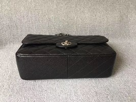 AUTH CHANEL BLACK QUILTED CAVIAR LEATHER JUMBO CLASSIC FLAP BAG SHW image 3