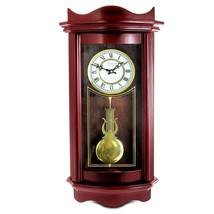 "25"" Bedford Clock Weathered Chocolate Cherry Wood Wall Clock with Pendulum - $47.52"