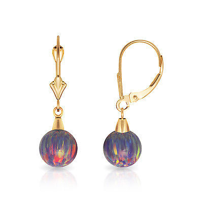 7 mm Ball Shaped Purple Fire Opal Leverback Dangle Earrings 14K Yellow Gold