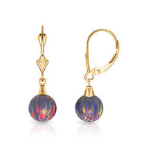 7 mm Ball Shaped Purple Fire Opal Leverback Dangle Earrings 14K Yellow Gold - $81.88
