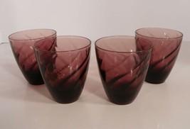 Hazel Atlas MOROCCAN Amethyst Glass Old Fashioned Tumbler (s) LOT OF 4 P... - $29.65