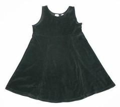 GAP GIRLS SIZE MEDIUM 7 8 BLACK VELOUR SLEEVELESS DRESS COMFY COTTON & P... - $9.89