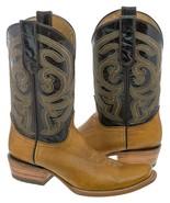 Mens Genuine Leather Western Cowboy Boots Handmade Miel Brown Dubai Squa... - $97.99