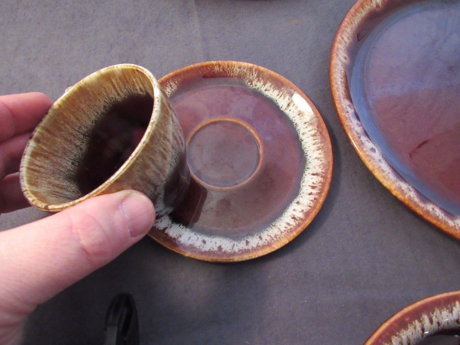 Dinner Plates Saucers Bowls Cups Brown Drip Glaze Hull? Replacement Pieces