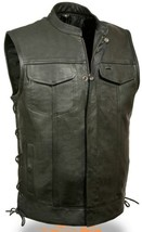 MEN'S MOTORCYCLE SON OF ANARCHY LEATHER VEST 2 GUN POCKETS INSIDE SIDE L... - $111.91+