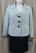 Le Suit Skirt Suit Sz 14 White Black Woven 3 Button Straight Skirt Caree... - $79.17