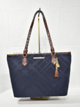 RARE Brahmin Medium Asher Tote/Shoulder Bag in Navy Plymouth Fabric/Leather - $279.00