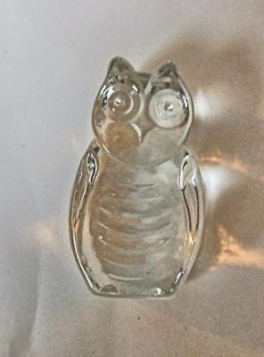 "Vintage Little Cast Glass Owl Clear 2"" Paper Weight"