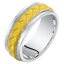 Men's 8mm Sterling Silver Two Tone Criss-Cross Wedding Band - $114.99