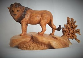 AFRICAN LION ORIGINAL CHERRY WOOD CARVING  SCULPTURE BY JOAN KOSEL - $294.53
