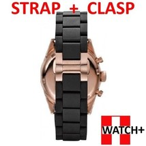 20mm Black Rubber/Steel Strap/Band/Bracelet for Emporio Armani Watch AR5906 - $32.59