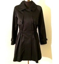 Cour Carre Womens Trench Coat S Small 4 6 EU 40 Black Wool Blend Asymmet... - $59.39