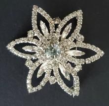 Rhinestone Pin Star Flower Shaped Brooch Silver Tone Vintage Sparkly - $29.99