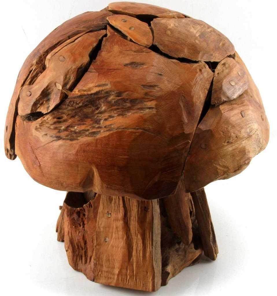 ARTISAN MADE FOLK TEAK WOOD MOSAIC MUSHROOM SCULPTURE POP ART MID CENTURY DECO image 2