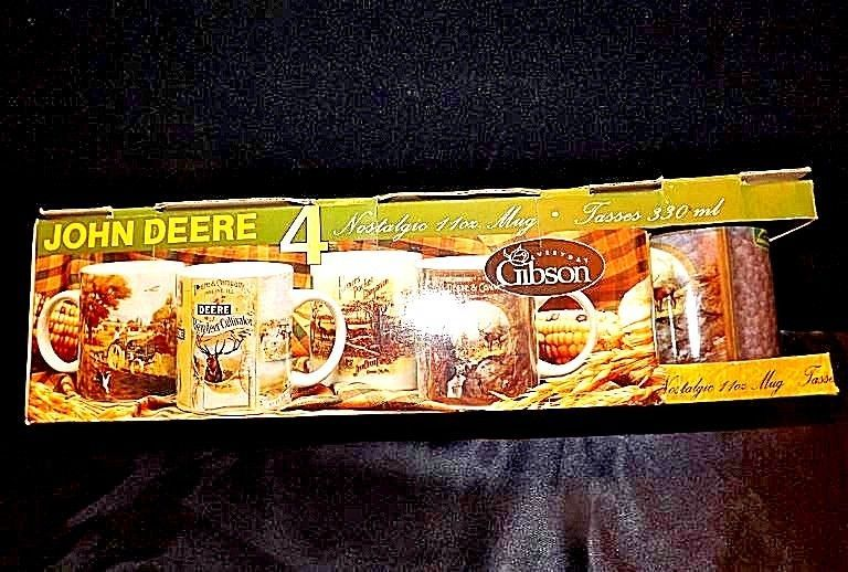 John Deere Four Nostalgic 11 oz Mugs in box Gibson2000 China AA18-JD0018