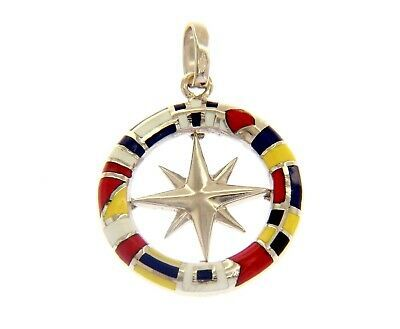 18K WHITE GOLD COMPASS WIND ROSE PENDANT, 2.2cm, ENAMEL NAUTICAL FLAGS