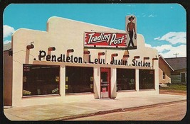 Cowboy Sign Postcard Colorado Granby Trading Post Storefront Levi Jeans ... - $17.99