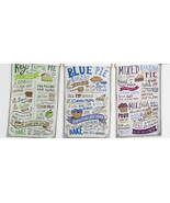 Pie Recipes Dish Towels Set of 3 New Cool Tones Key Lime Mixed Berry Blu... - $24.74