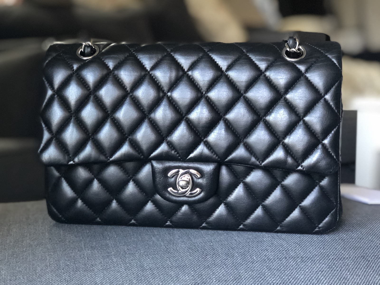 SALE* AUTHENTIC Chanel Quilted Lambskin Classic Medium Black Double Flap Bag SHW
