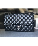 SALE* AUTHENTIC Chanel Quilted Lambskin Classic Medium Black Double Flap... - $3,899.99
