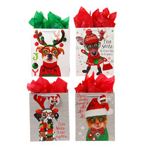 Classic Tall Furry Christmas Pals Matte Gift Bag  4 Designs/Case of 144 - $188.45 CAD