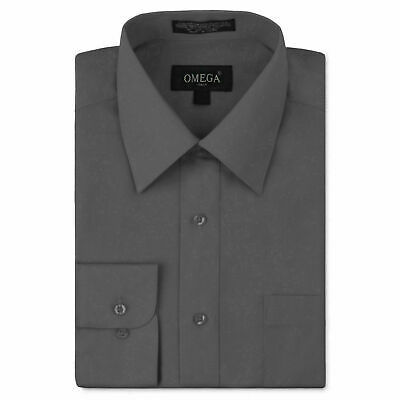 Omega Italy Men's Slim Fit Button Up Long Sleeve Charcoal Dress Shirt - XL