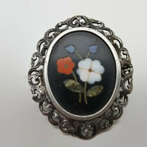 Antique Italian Sterling Silver Pietra Dura Combination Pin Pendant  - $95.06