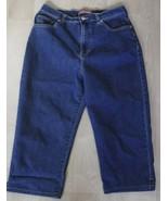 """Women Gloria Vanderbilt Denim Capri Size 12P Dark Wash Stretch Waist 29"""" - $14.80"""