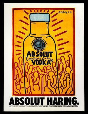 Primary image for Absolut Haring AD 1986 Vodka Liquor Distillery Keith Haring Advertising Art