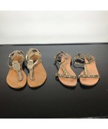 Women (2) pairs Sandals Lot. Madeline Stuart, Yellow Box,  Size 7.  Gold... - $14.85