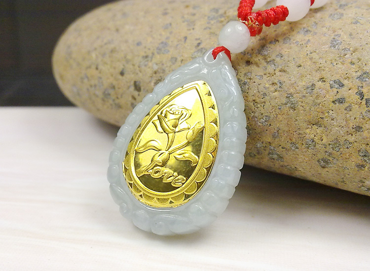 Fashion design top quality flower gold jade necklace for men women hot sales pendant 313