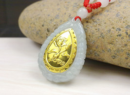 Ashion design top quality flower gold jade necklace for men women hot sales pendant 313 thumb200