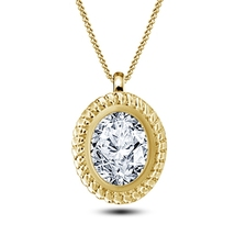 Oval Shape White CZ 14k Yellow Gold Plated 925 Silver Women's Pendant With Chain - $45.99