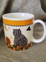 Debbie Mumm Halloween Cat Pumpkin Coffee Tea Mug Cup Sakura 1998 - $19.99