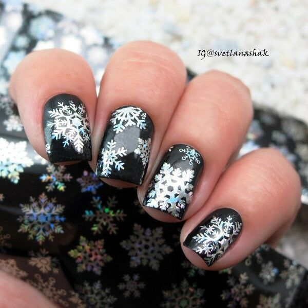 Holographic Snowflake Nail Art Foil Sticker Transfer Nail Tips winter snow flake