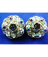 Vintage Sarah Coventry signed Gold tone metal Crystal Flower Clips Earrings - $34.02