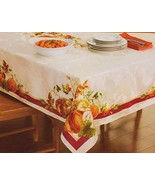 Harvest Thanksgiving Pumpkin Fabric Tablecloth with Border  - $44.00