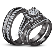 1.75CT His & Her Wedding Trio Ring Set White Diamond Black Gold Over 925... - $174.99
