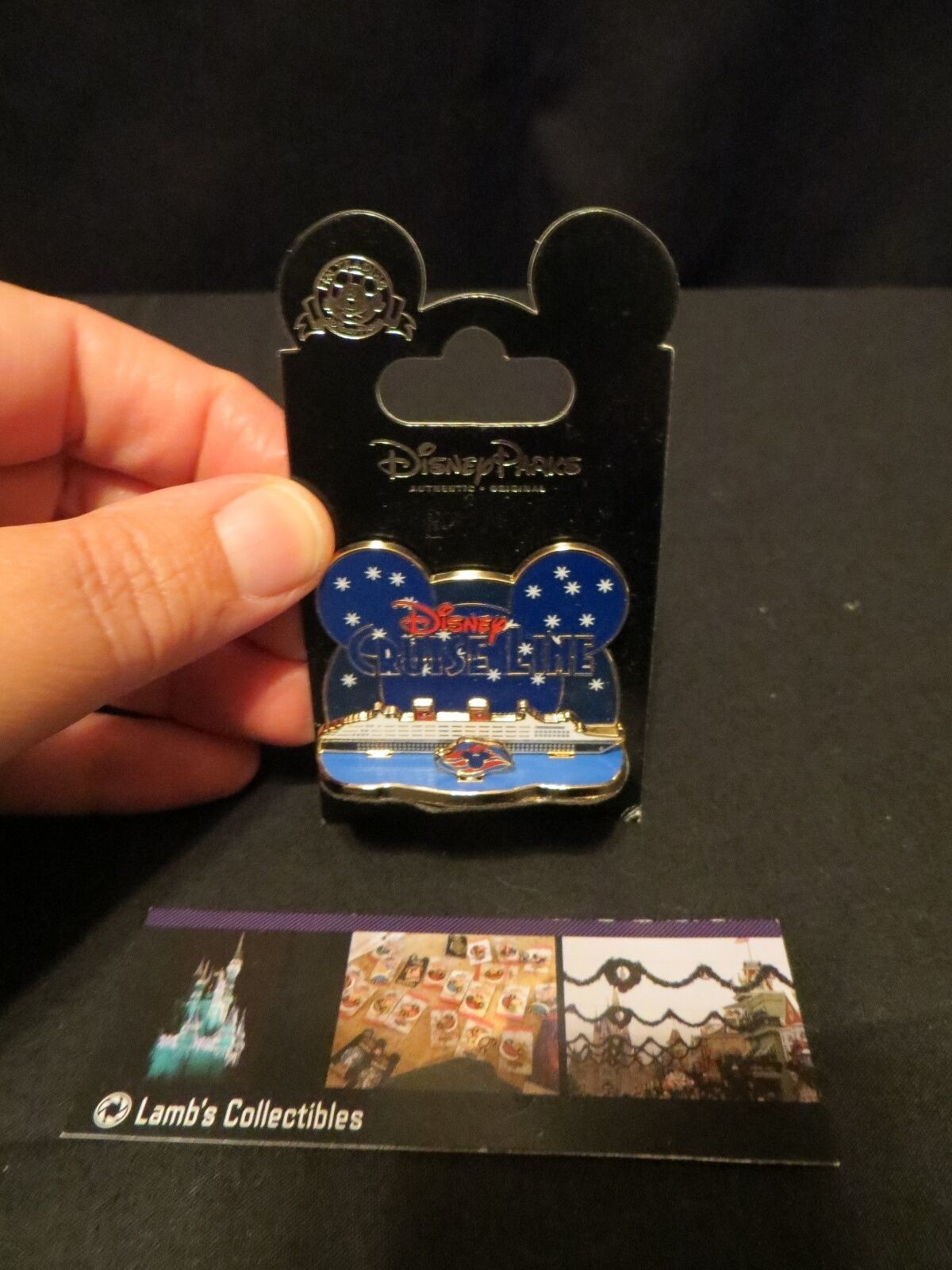 Primary image for Disney Pin DCL Cruise Line Ship Starry Night w/ Mickey Mouse Wave Logo Diorama