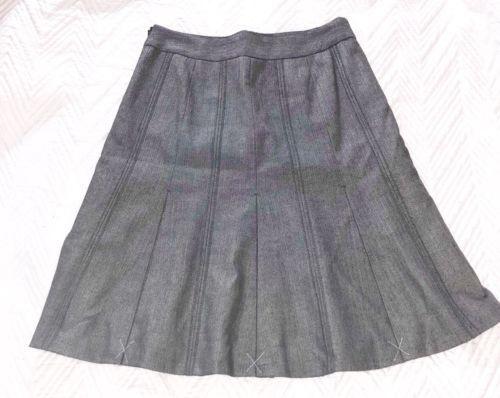 Ann Taylor Loft 4P Skirt Gray Pleated Career Zipper Button
