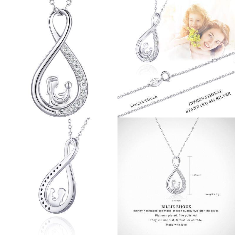 Sterling Silver Infinity Necklace Mother And Daughter Forever Love Women Pendant