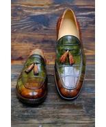 Men's Crocodile Leather Handmade Multi color patina hand finish Loafers ... - $229.99