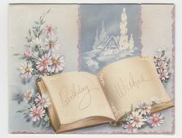 Vintage Birthday Card Open Book 1940's Cottage Harry Doehla 1940's Pink ... - $7.91